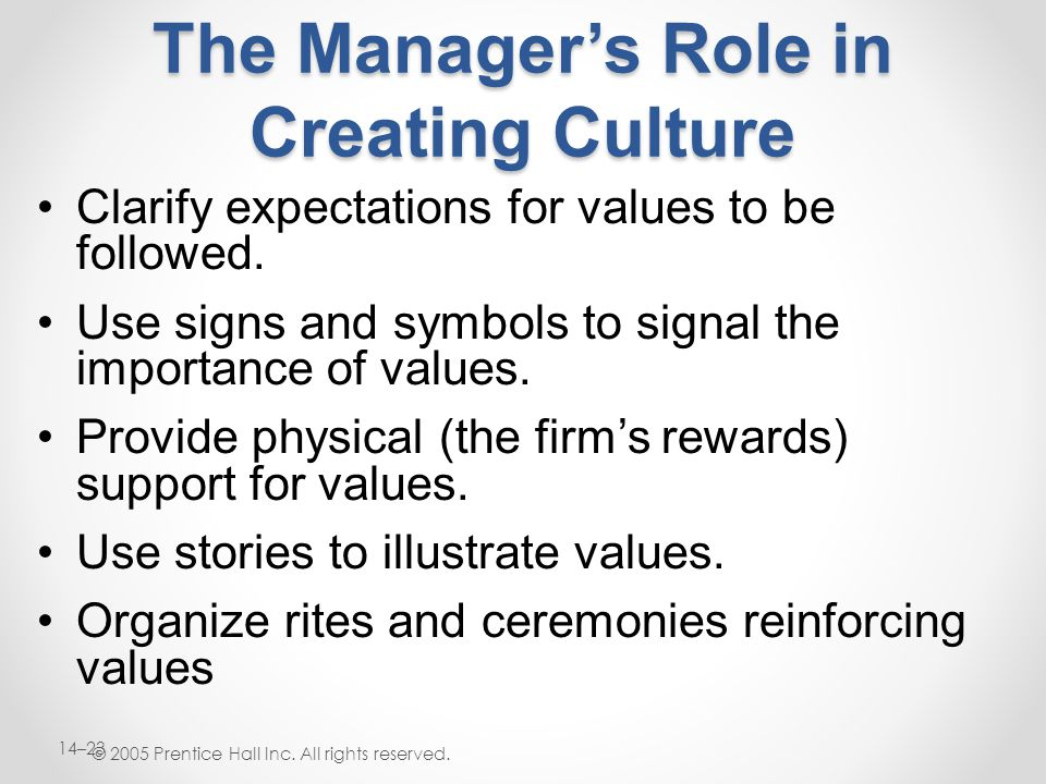 The Manager's Role in Creating Culture