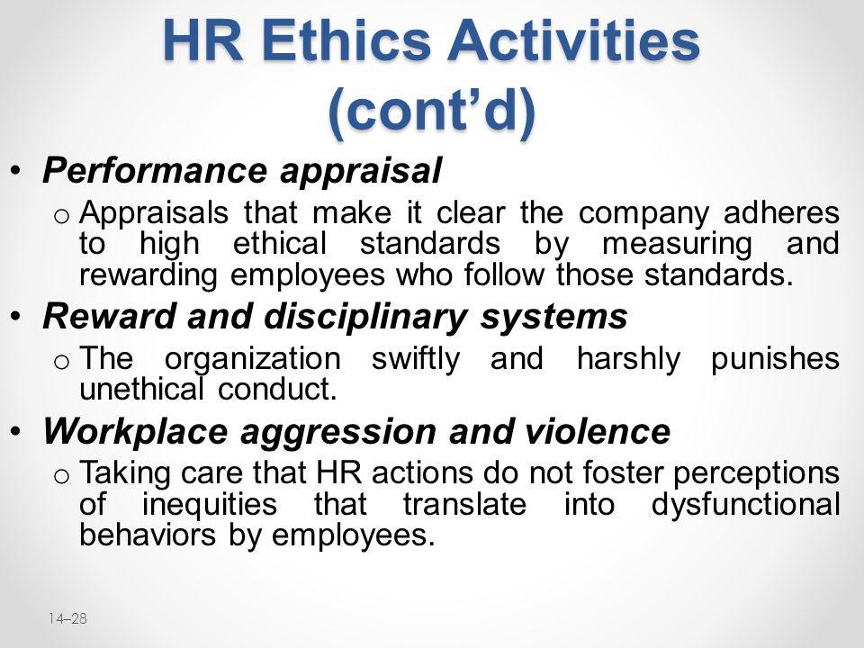 HR Ethics Activities (cont'd)