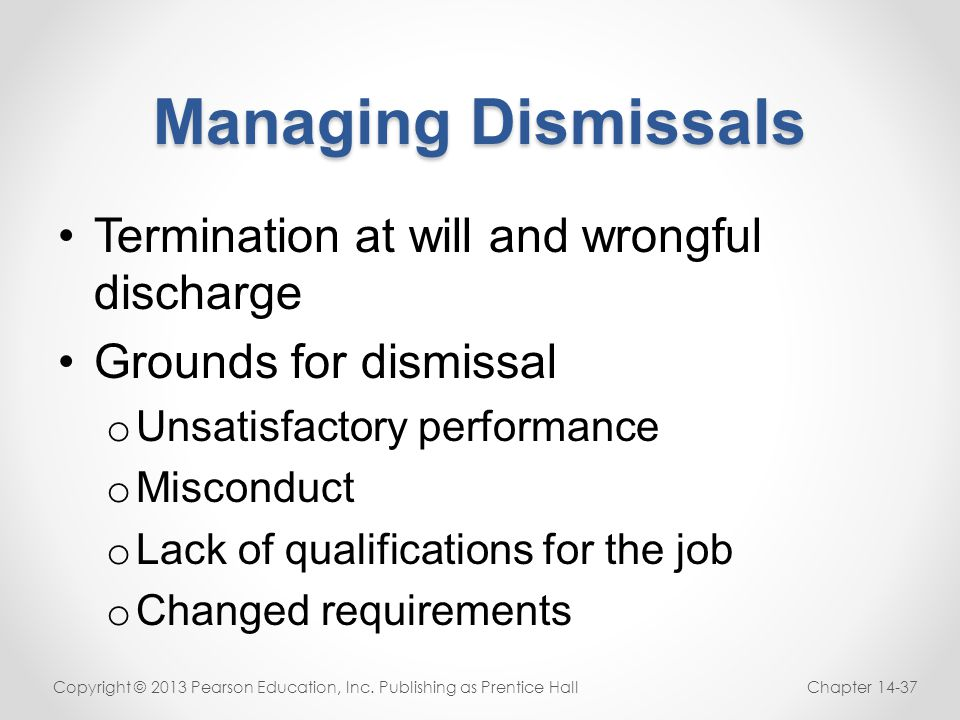 Managing Dismissals Termination at will and wrongful discharge