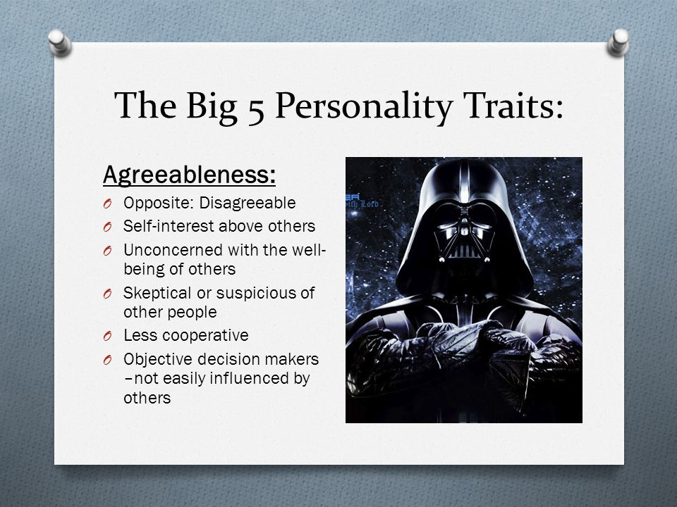 big 5 traits The big 5 refers to the five main personality traits, and if you've used joy,   these five personality traits are used as a measuring system for understanding  how.