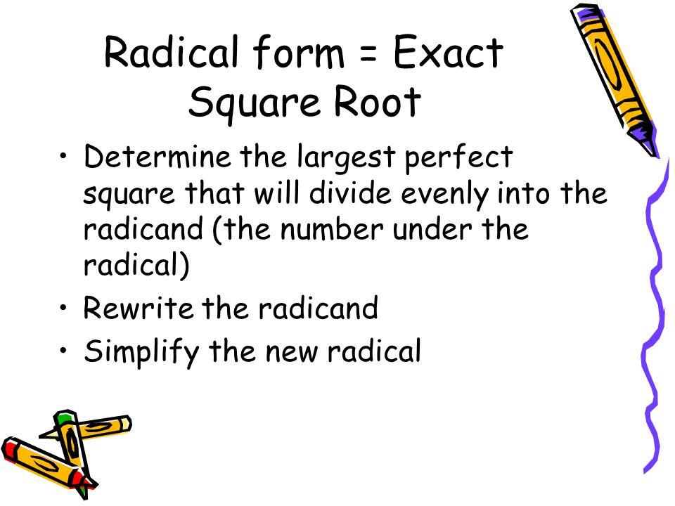 Simplified radical form