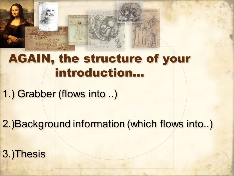 AGAIN, the structure of your introduction…