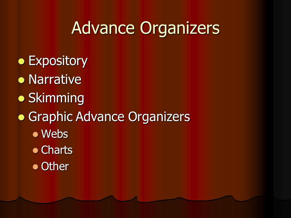 Advance Organizers Expository Narrative Skimming