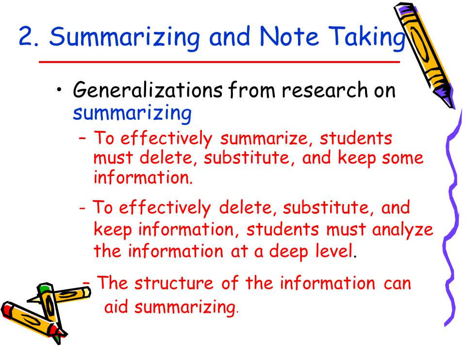 2. Summarizing and Note Taking