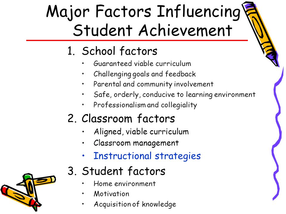 Major Factors Influencing Student Achievement
