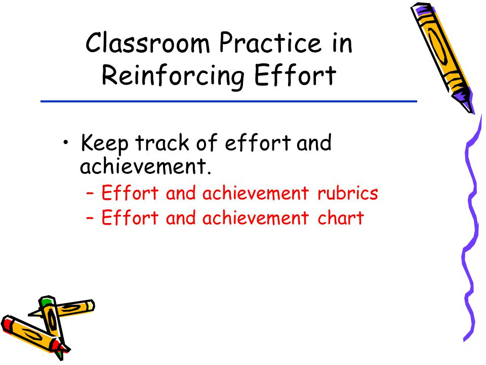Classroom Practice in Reinforcing Effort