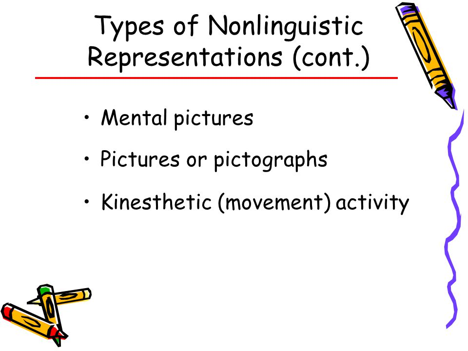 Types of Nonlinguistic Representations (cont.)
