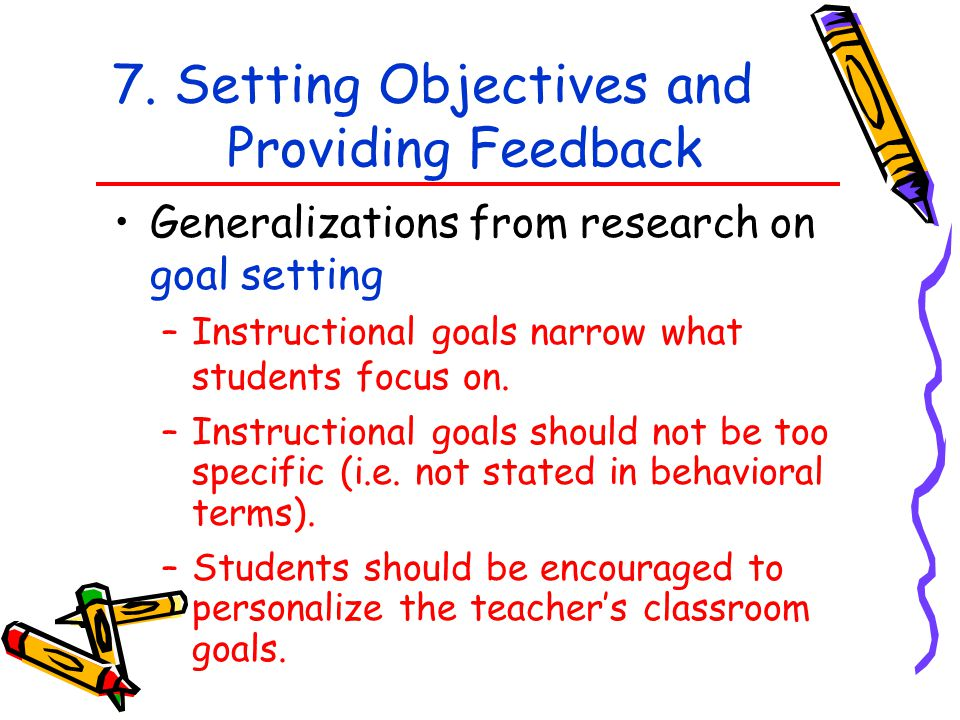 7. Setting Objectives and Providing Feedback