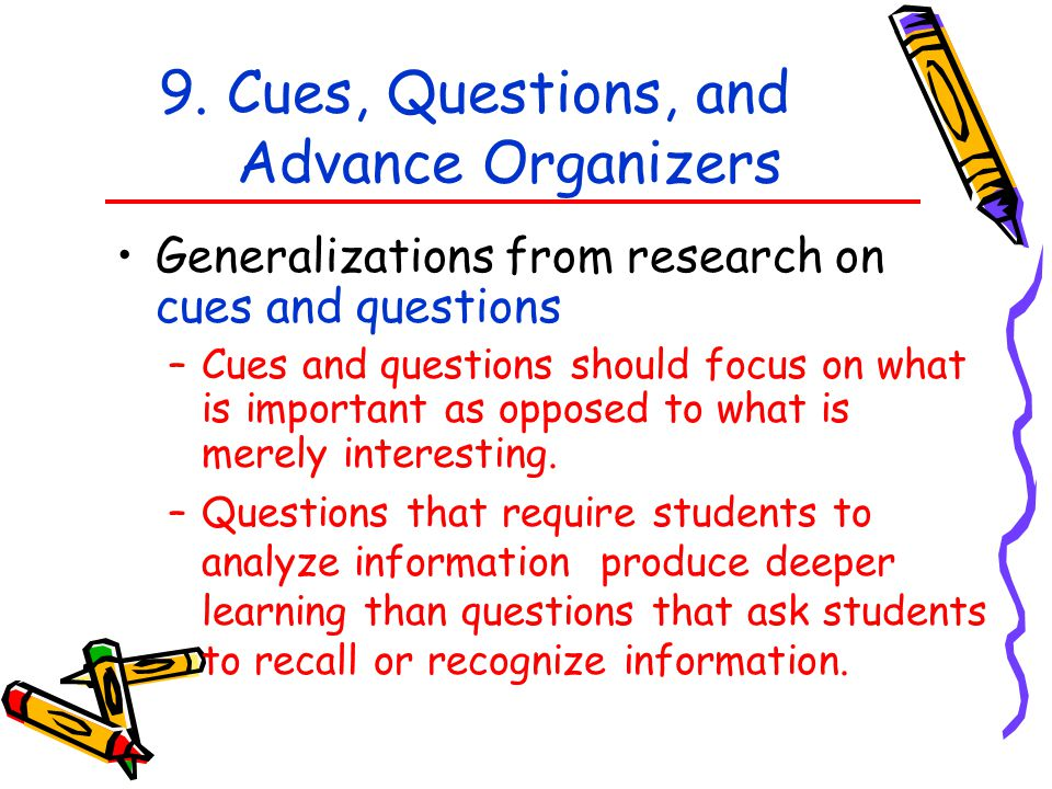 9. Cues, Questions, and Advance Organizers