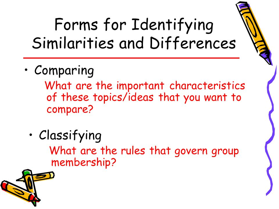 Forms for Identifying Similarities and Differences