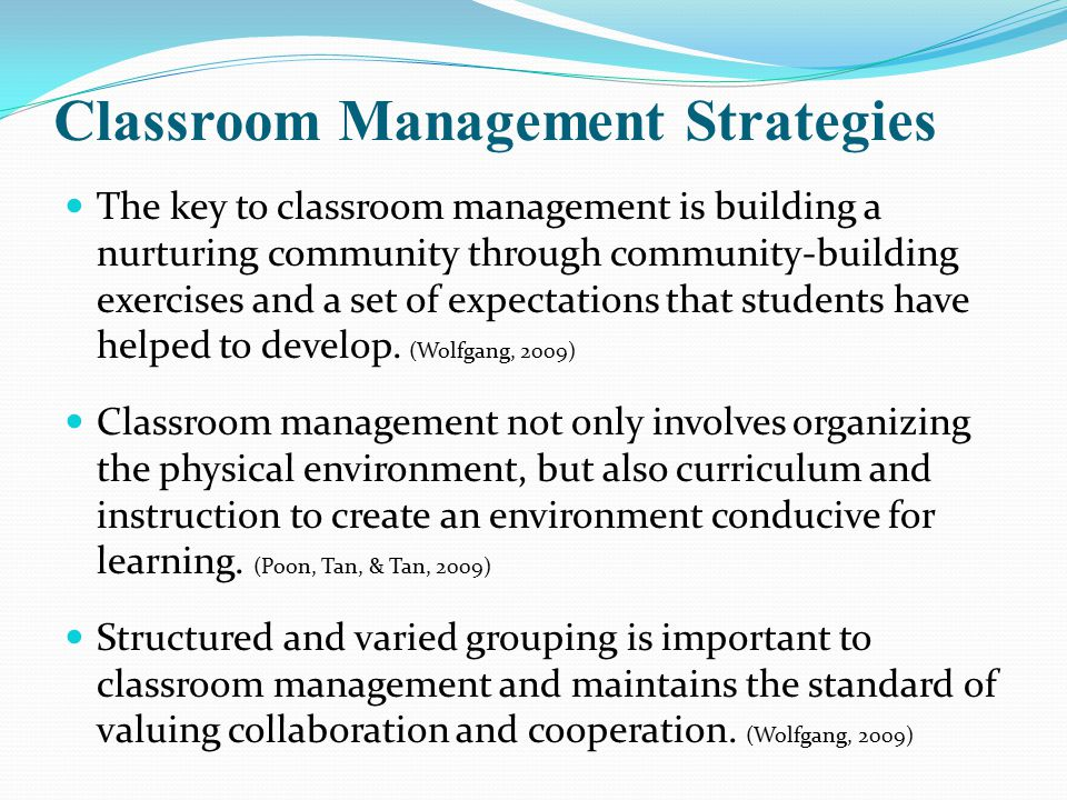 classroom management 6 essay For effective teaching and learning, classroom management is very important because it ensures that learning occurs smoothly if the teacher does not manage his or her classroom well, delivery of the subject material can fail the teacher must, therefore, have a clear plan for ensuring that the.