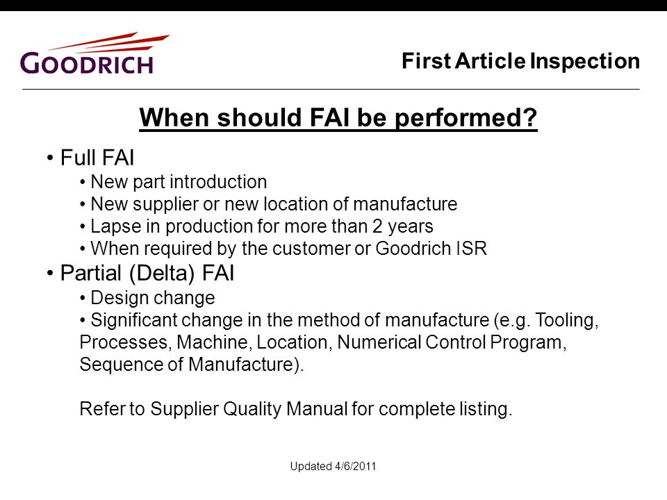 supplier quality manual template - first article inspection ppt video online download
