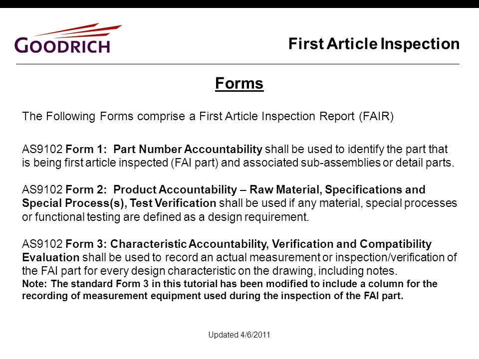 First article inspection ppt video online download for First article inspection procedure template