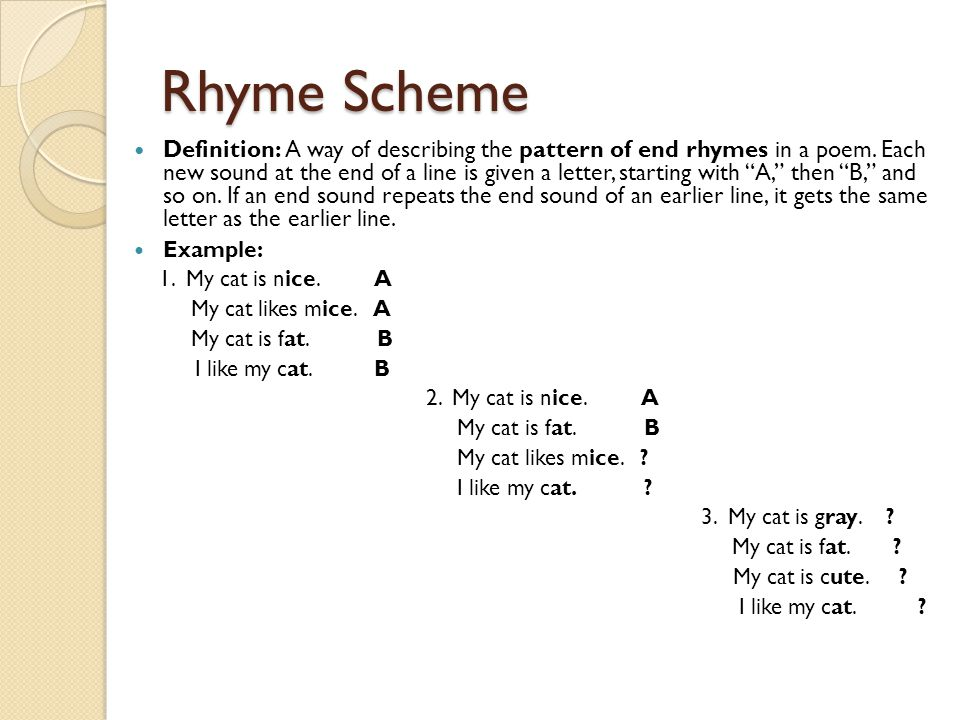 1 poetry and rhyme scheme A quick tutorial on how to determine a poem's rhyme scheme, as well as some common rhyme schemes in poetry link to rhyme scheme image:  .