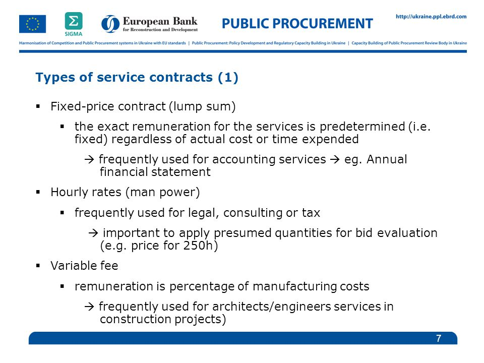 Award of service contracts introduction and general for Fixed price construction contract