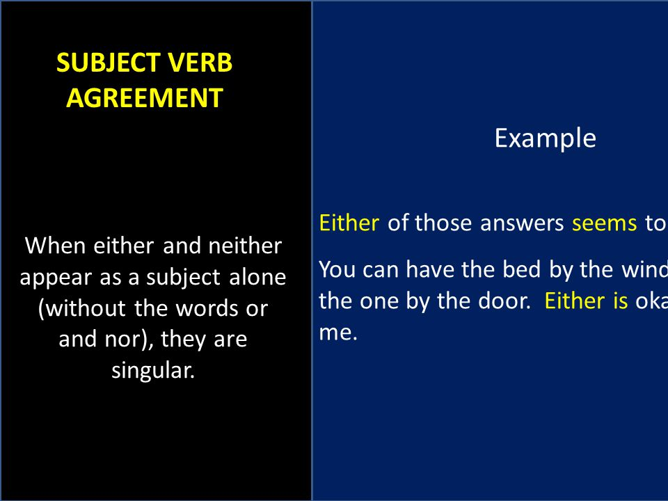 Neither Nor Examples Subject Verb Agreement