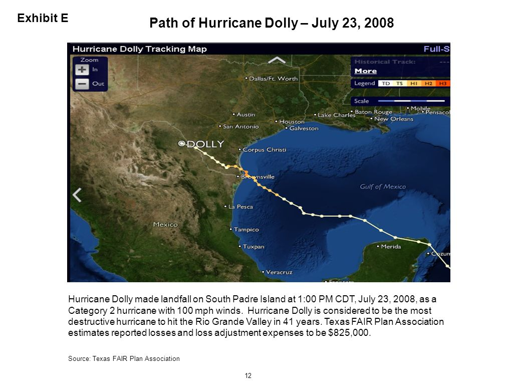 Path of Hurricane Dolly – July 23, 2008