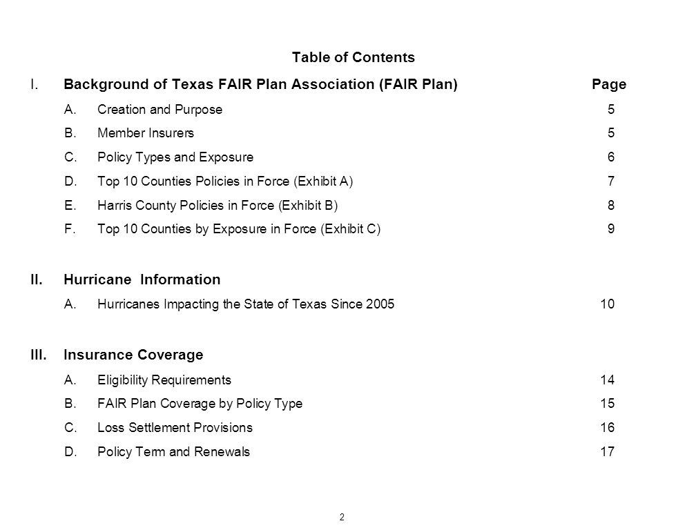 I. Background of Texas FAIR Plan Association (FAIR Plan) Page