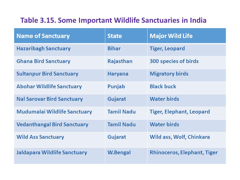 Table Some Important Wildlife Sanctuaries in India