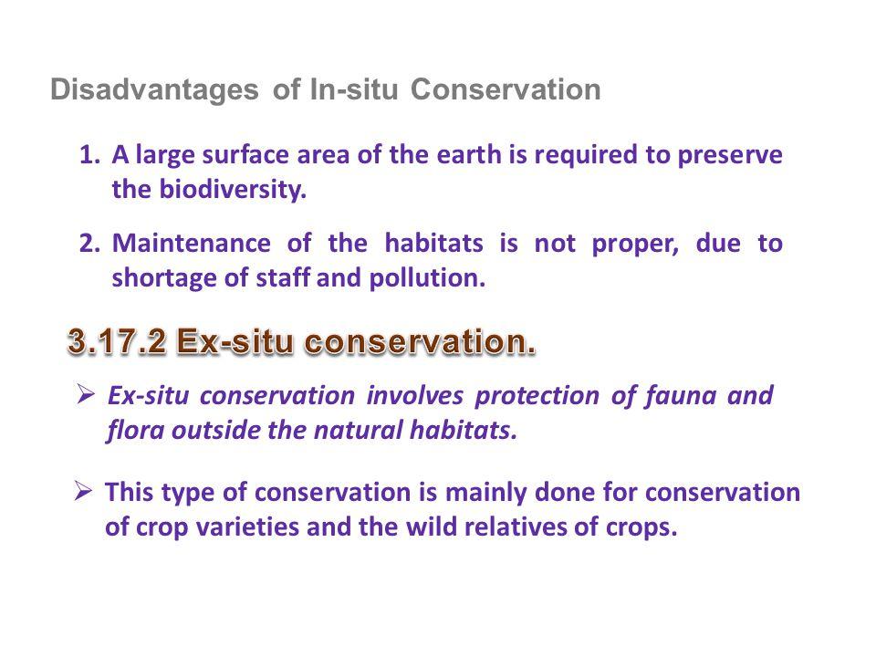 3.17.2 Ex-situ conservation. Disadvantages of In-situ Conservation