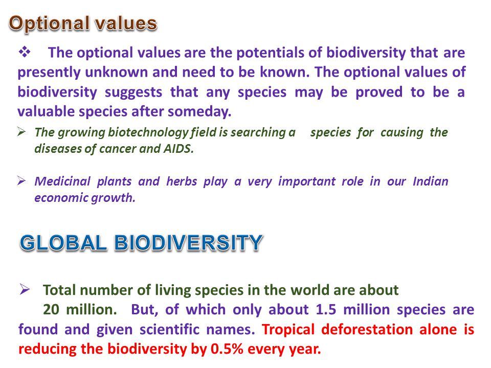 GLOBAL BIODIVERSITY Optional values