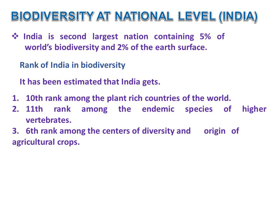 BIODIVERSITY AT NATIONAL LEVEL (INDIA)