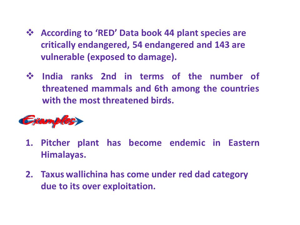 According to 'RED' Data book 44 plant species are