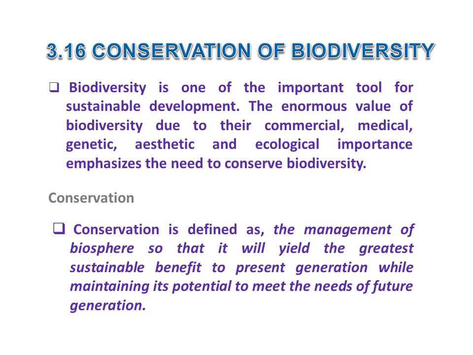 3.16 CONSERVATION OF BIODIVERSITY