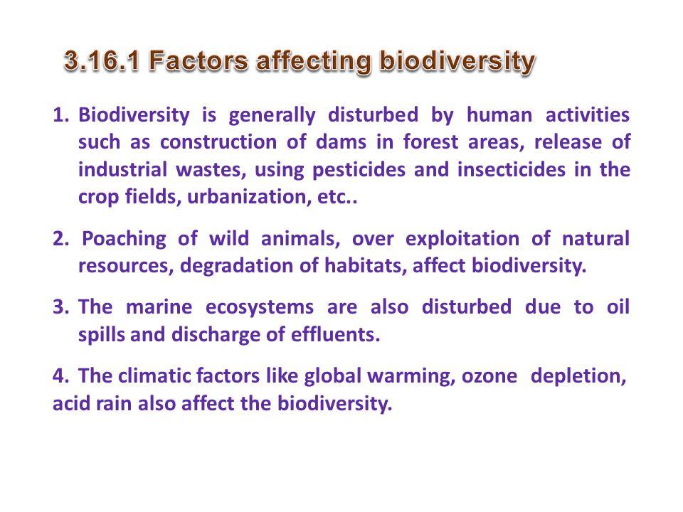 3.16.1 Factors affecting biodiversity