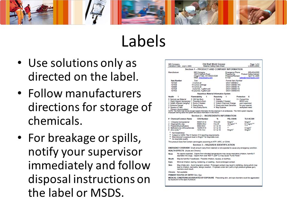 Labels Use solutions only as directed on the label.