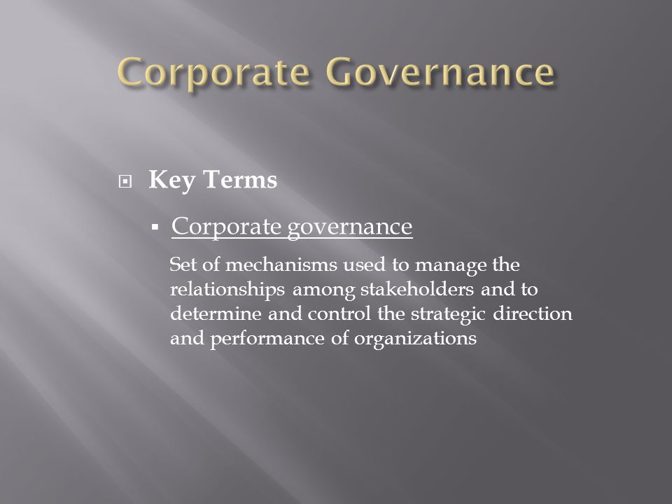 why is corporate governance used to monitor and control managerial decisions The role of a culture of compliance in information technology governance  syaiful ali 1,  corporate governance  whichever approach is used,.