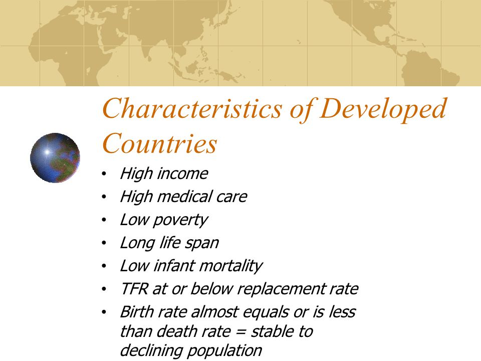 characteristics of developing countries Characteristics of developed and developing countries : a coggle diagram about developed countries and developing countries.