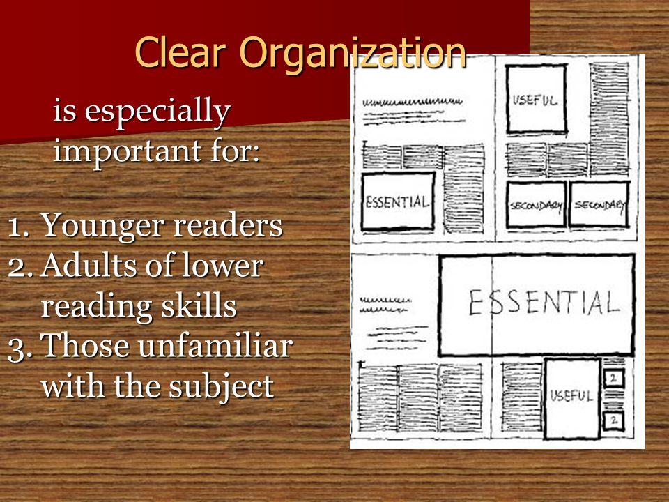 Clear Organization is especially important for: Younger readers