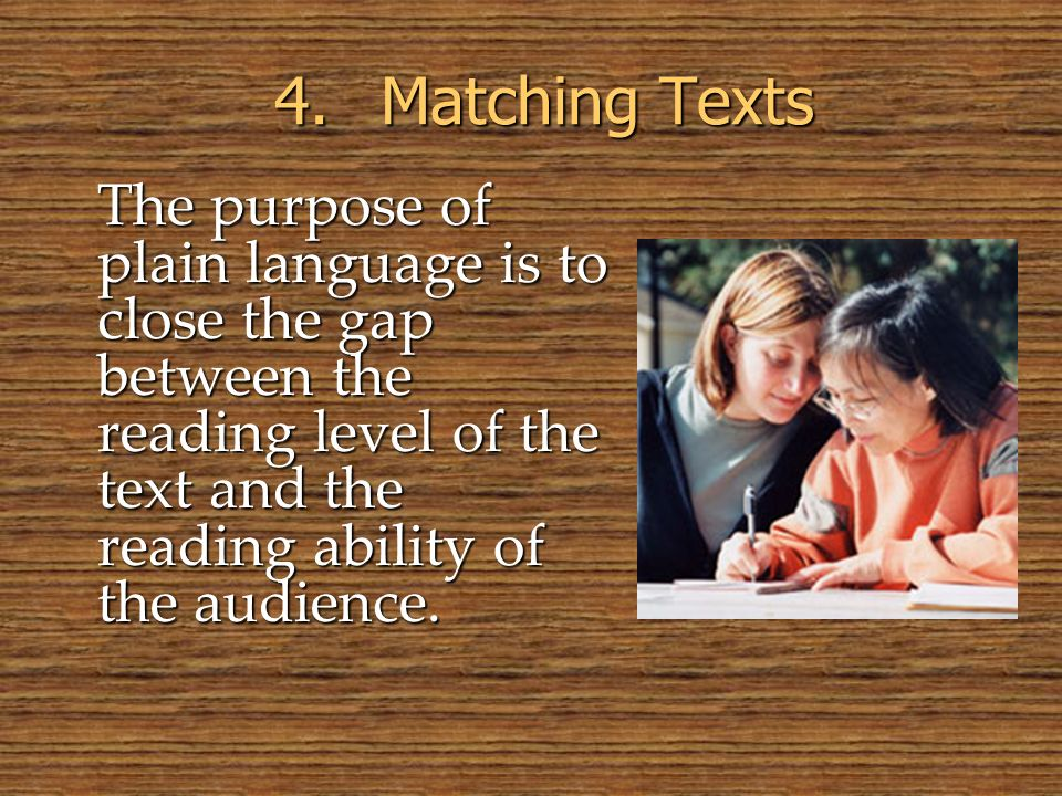 © 2005 William H. DuBay 4. Matching Texts.
