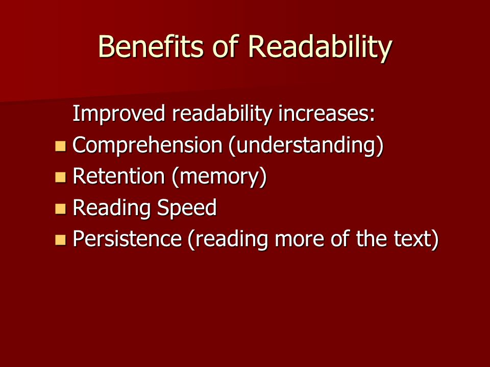 Benefits of Readability