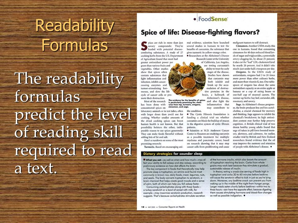 © 2005 William H. DuBay Readability Formulas.