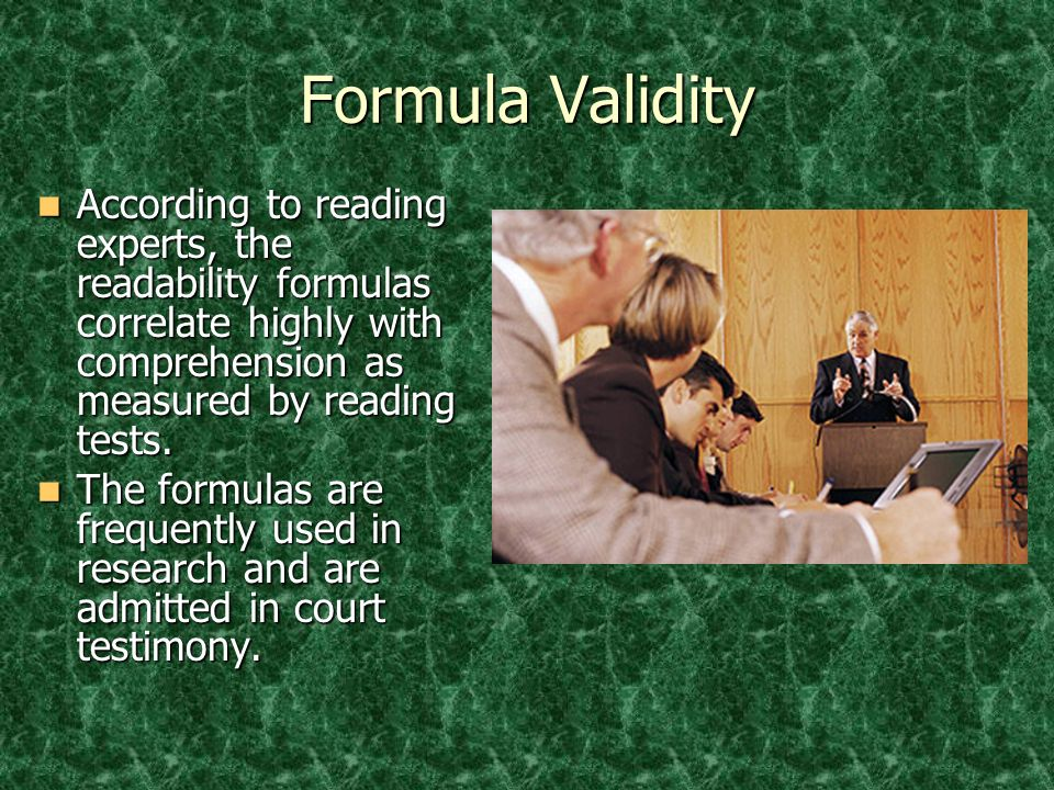 © 2005 William H. DuBay Formula Validity.