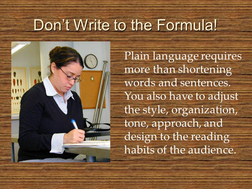 Don't Write to the Formula!