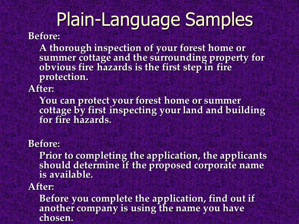 Plain-Language Samples