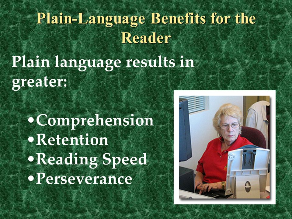 Plain-Language Benefits for the Reader