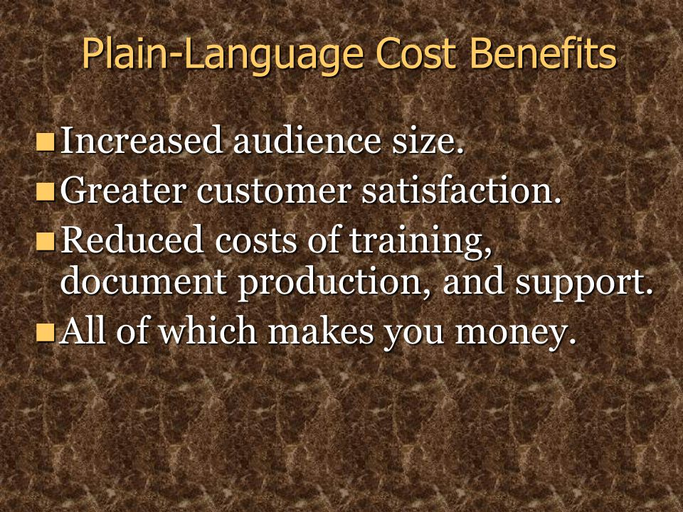 Plain-Language Cost Benefits