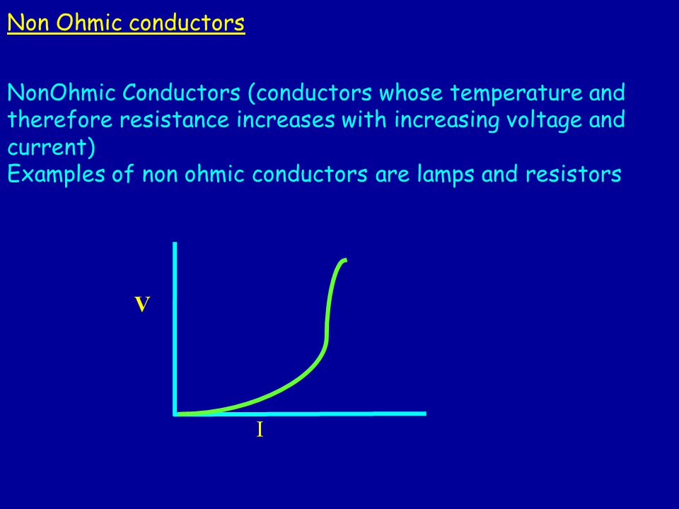 ohmic and non ohmic conductors To test the ohmic and non-ohmic behavior in a resistor and a bulb ohm's law: when the temperature of a metallic conductor is kept constant, the current through the conductor is proportional.