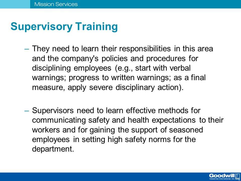 disciplinary action training for supervisors of diverse employees Positive discipline provides a straight-forward 5-step process for resolving tough   it also features an ethical action test, tips for ethical dilemmas, and more   helps supervisors understand what it means to show respect to employees  everyday  find out in this powerful workplace diversity training that promotes  inclusive.