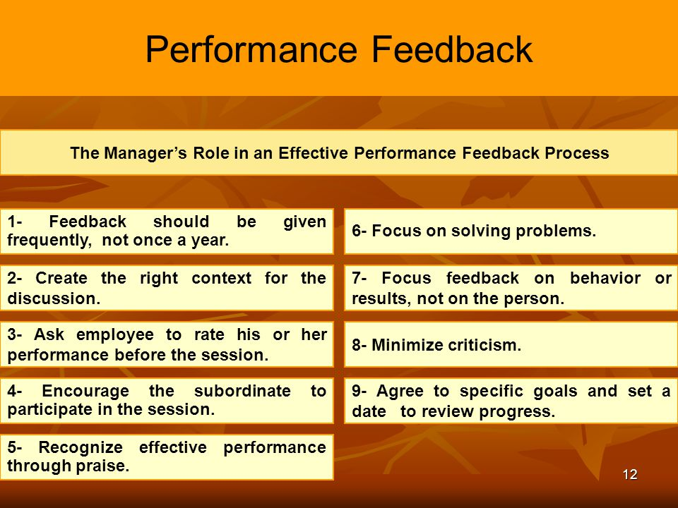 The Manager's Role in an Effective Performance Feedback Process