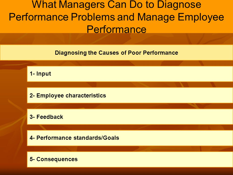 Diagnosing the Causes of Poor Performance