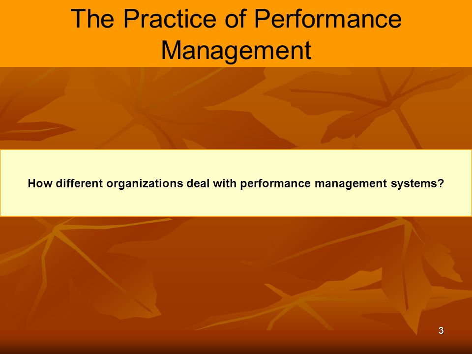 The Practice of Performance Management