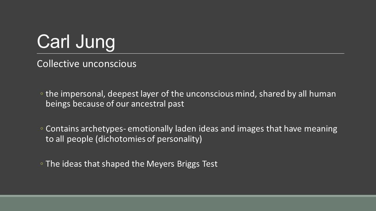 jungs collective unconscious Collective unconscious is a term originally coined by carl jung, and refers to that part of a person's unconscious that is common to all human beings it is distinguished from the personal unconscious, which is unique to each human being.
