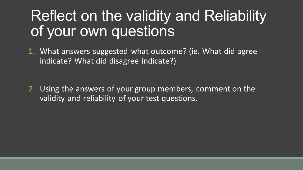Questions of reliability