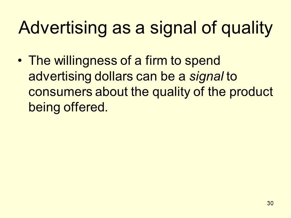 Advertising as a signal of quality