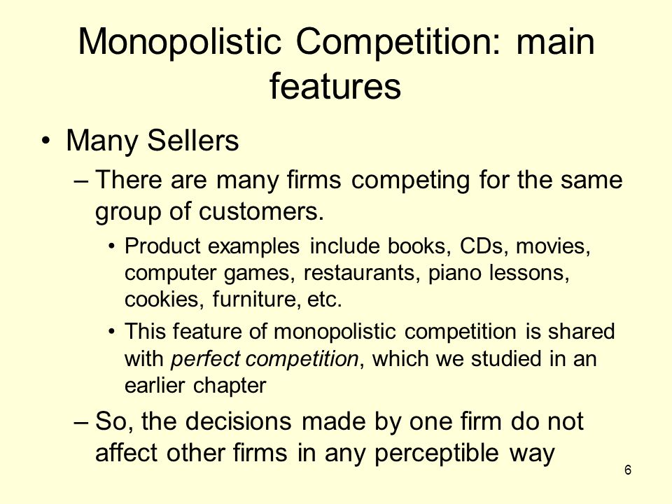 distinguish between perfect competition and monopolistic competition